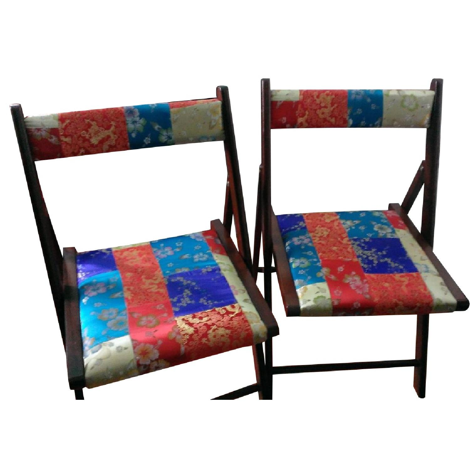 Pier 1 Brocade Folding Chairs - Pair - image-0