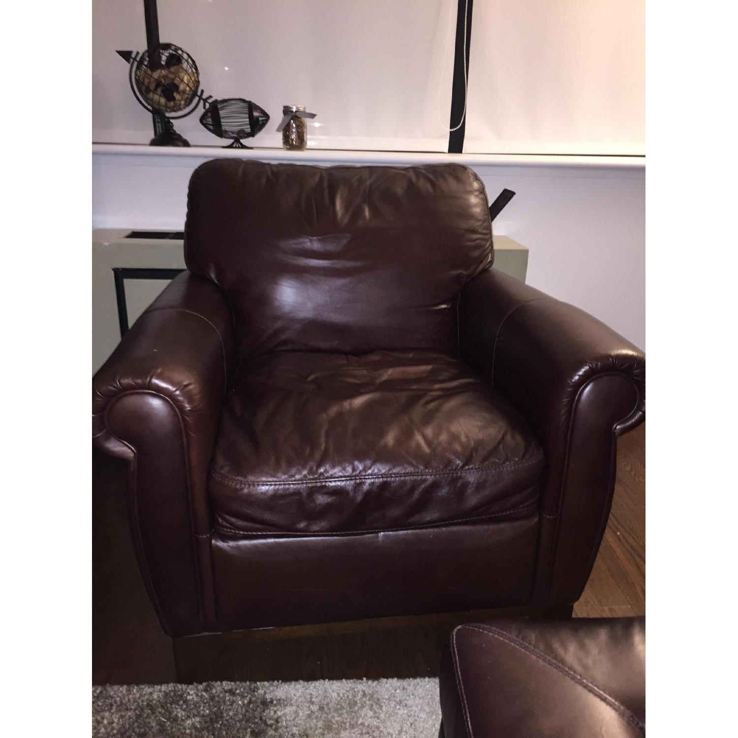 Raymour & Flanigan Jackson Leather Arm Chair - image-2