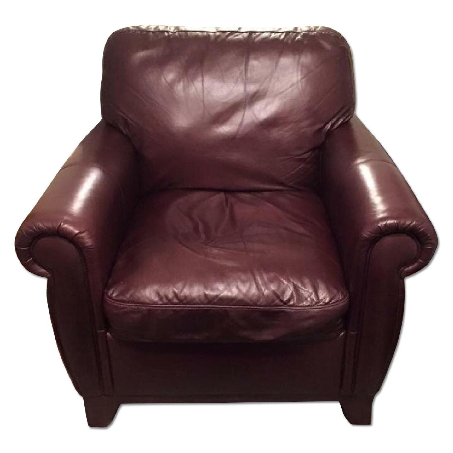 Raymour & Flanigan Jackson Leather Arm Chair - image-0