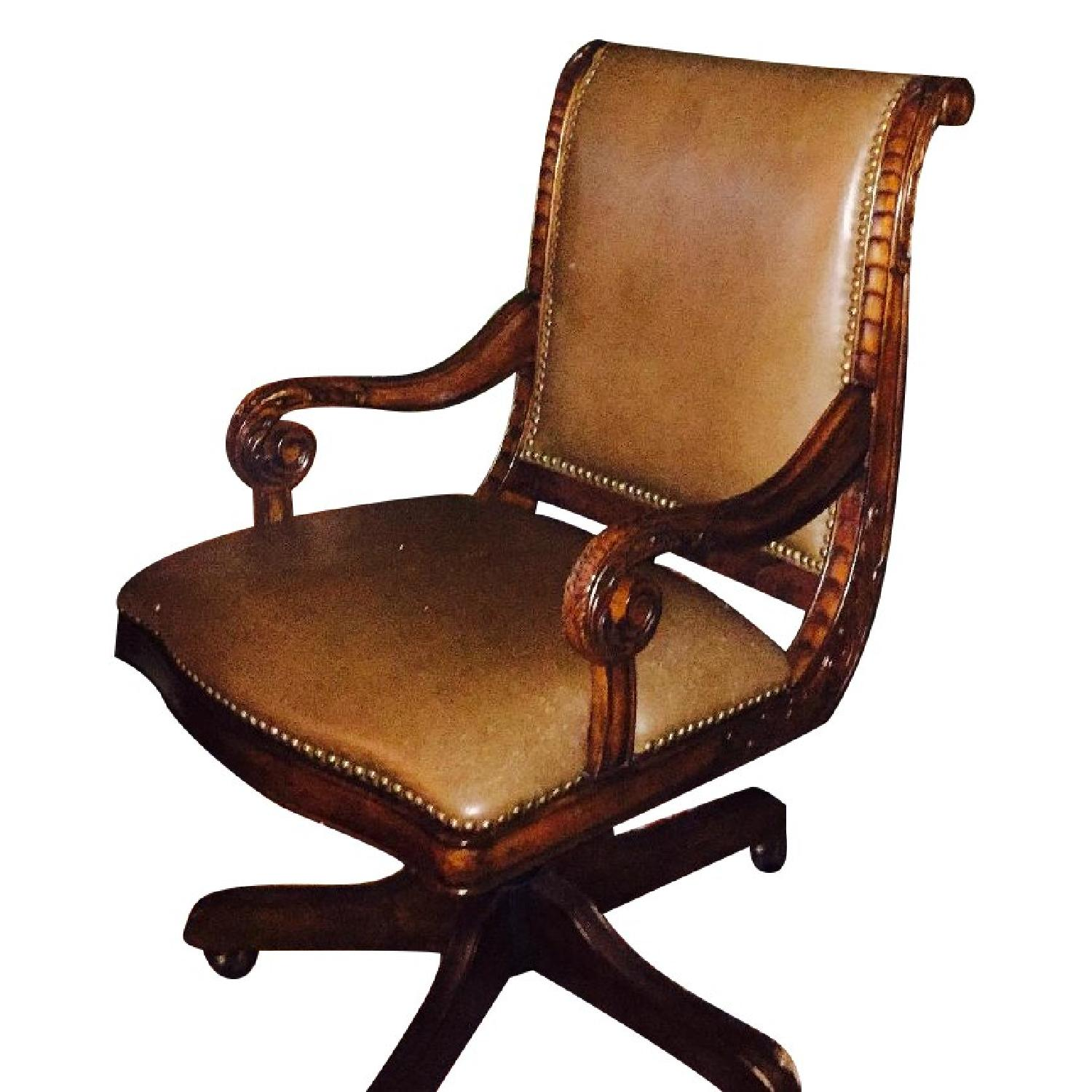Leather Swivel Desk Chair - image-0