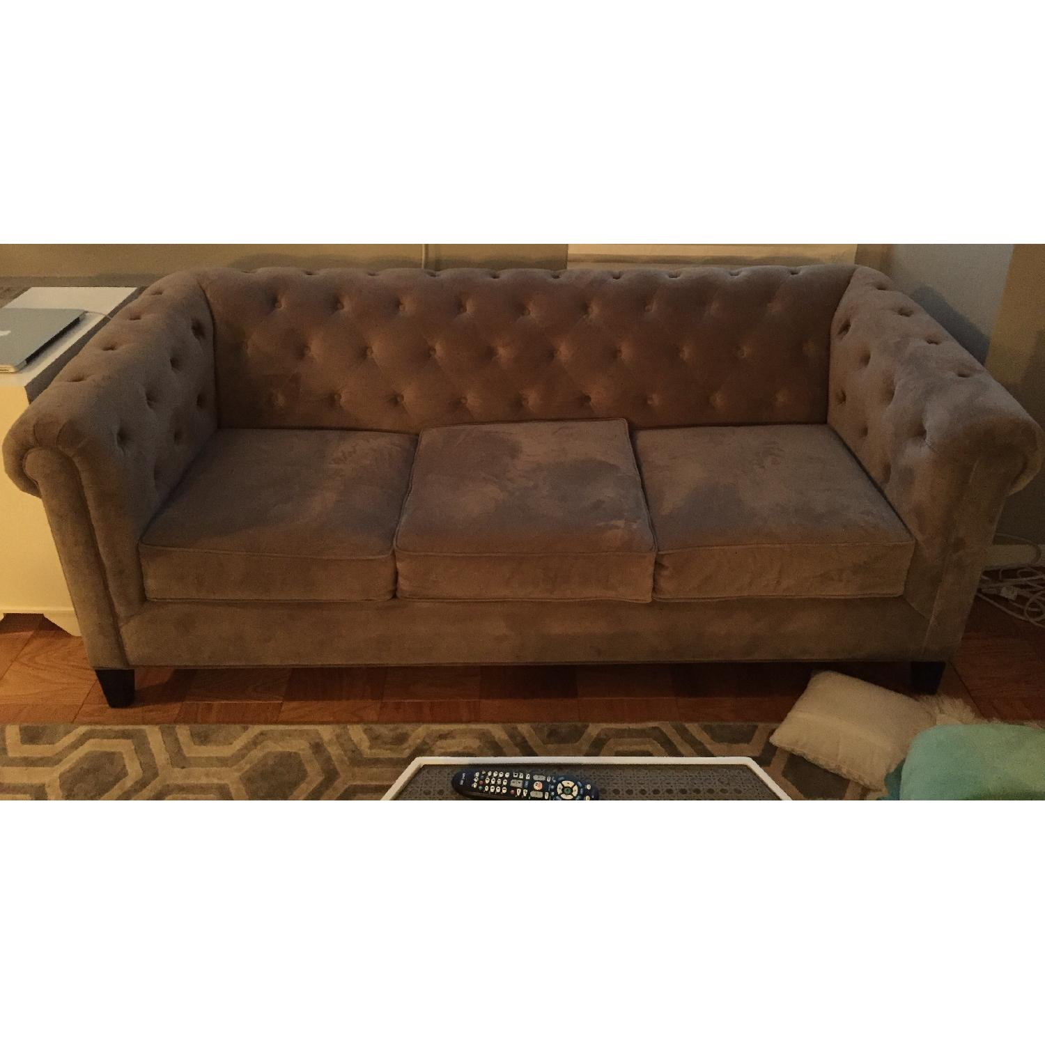 Macy's Grey Tufted Couch - image-1