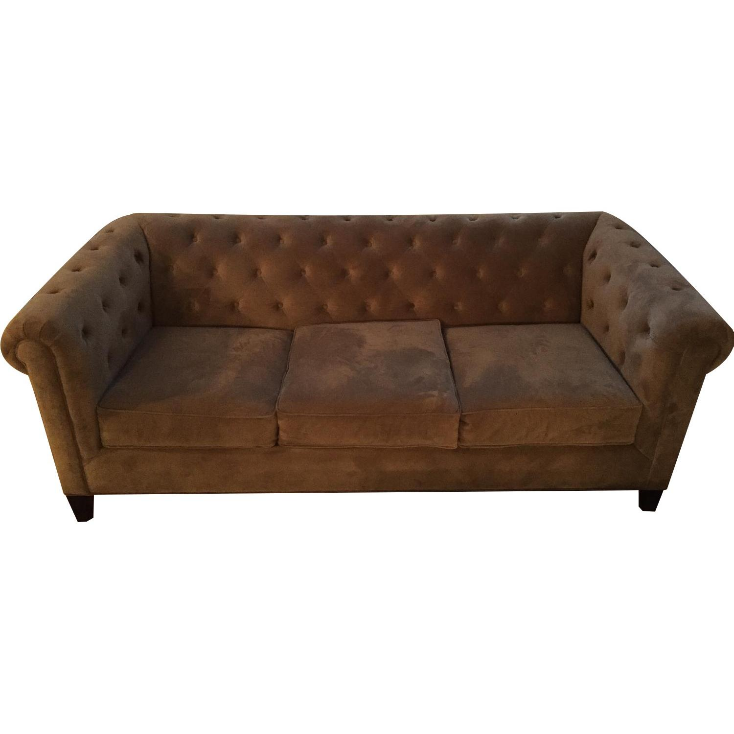 Macy's Grey Tufted Couch - image-0