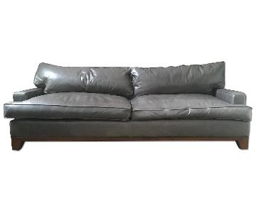 Thrive Mid-Century Grey Leather Couch w/ Walnut Base