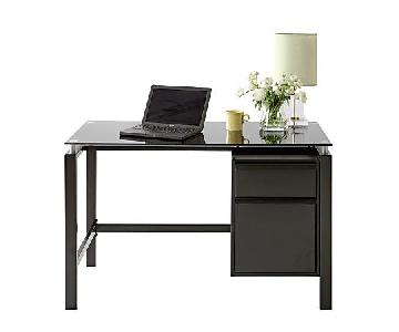 Realspace Lake Point Black Glass-Top Writing Desk