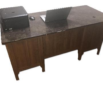 Marble Top Wood Desk