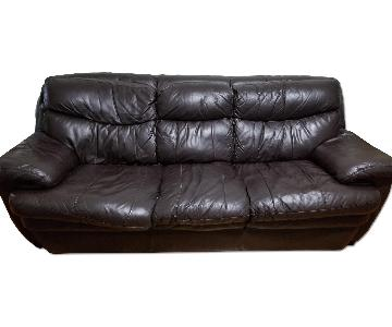 Bob's Leather Dark Brown 3 Seater Sofa