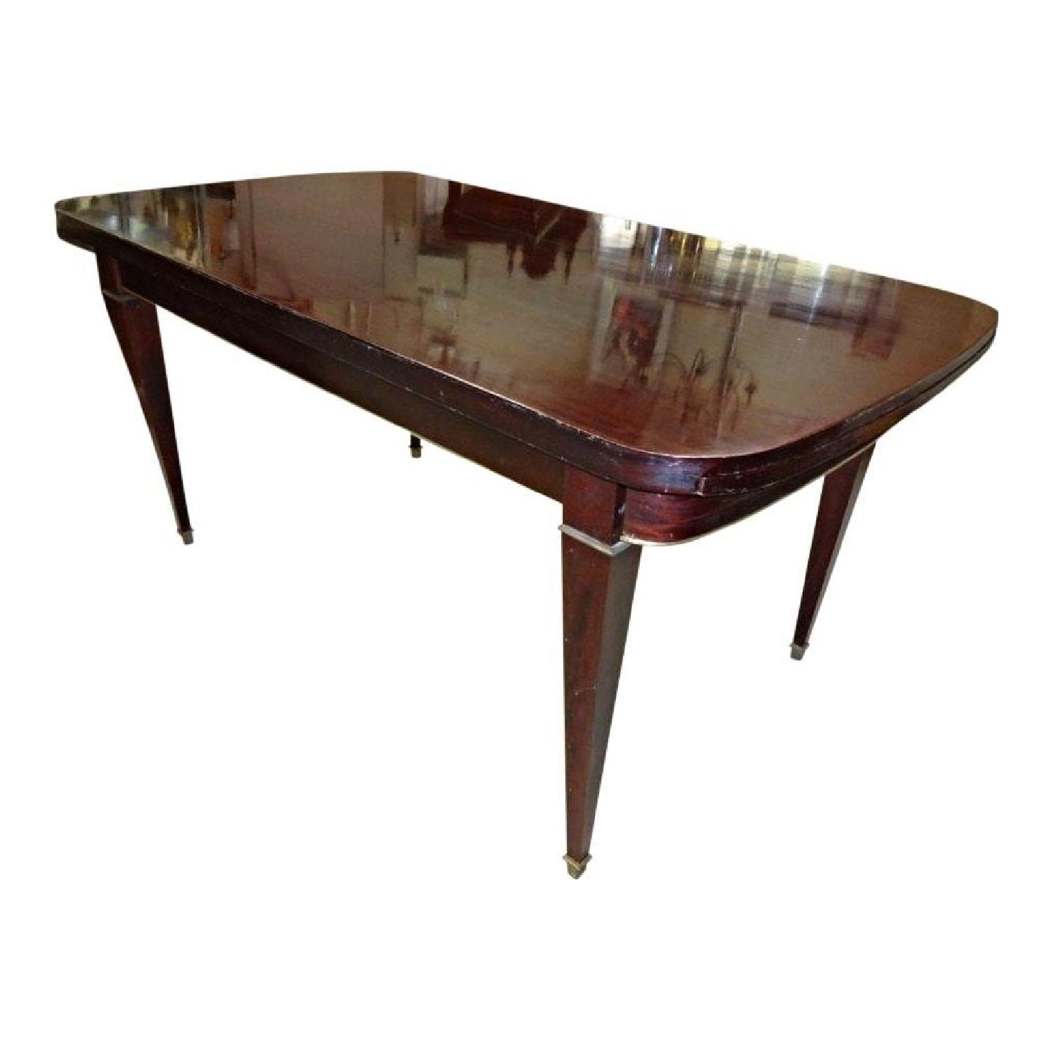 Mahogany Brass Neoclassical Extension Dining Table