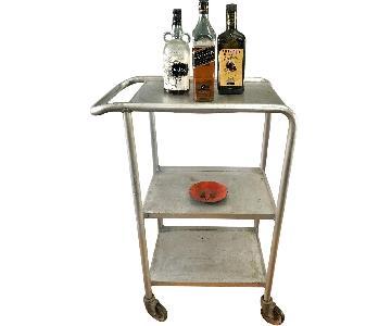 Vintage Industrial Metal Bar/Media Cart on Wheels