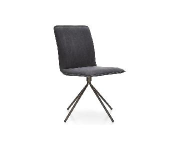 Crate & Barrel Whirl Swivel Grey Upholstered Dining Chair