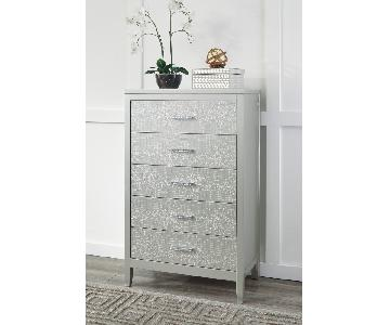 Ashley's Olivet Five Drawer Chest in Silver