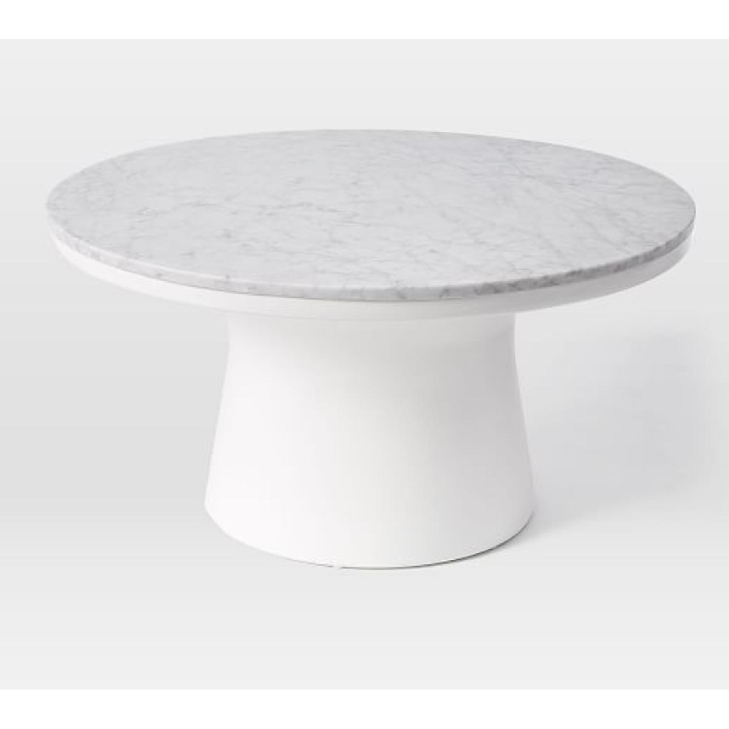 West Elm White Marble Top Coffee Table AptDeco