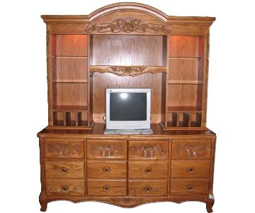 Hand-Carved Solid Oak Computer Table/Credenza w/ Hutch