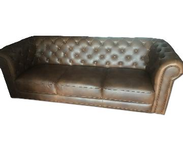 Brown Faux Leather Chesterfield Sofa