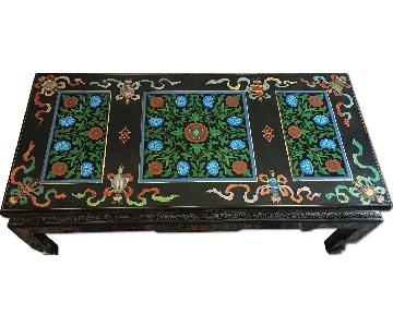 Chinese Cloisonne Coffee Table in Black/Multi Panels & Trim