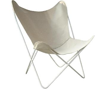 Circa50 White Gloss & Natural Canvas Butterfly Chair