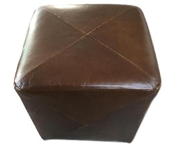 Crate & Barrel Leather Cube Ottoman