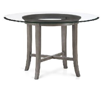 Crate & Barrel Halo Grey Glass Top Round Dining Table