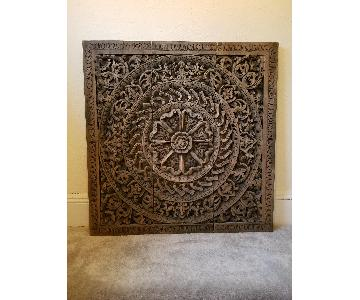 Hand Carved Thai Wood 3 Piece Mural