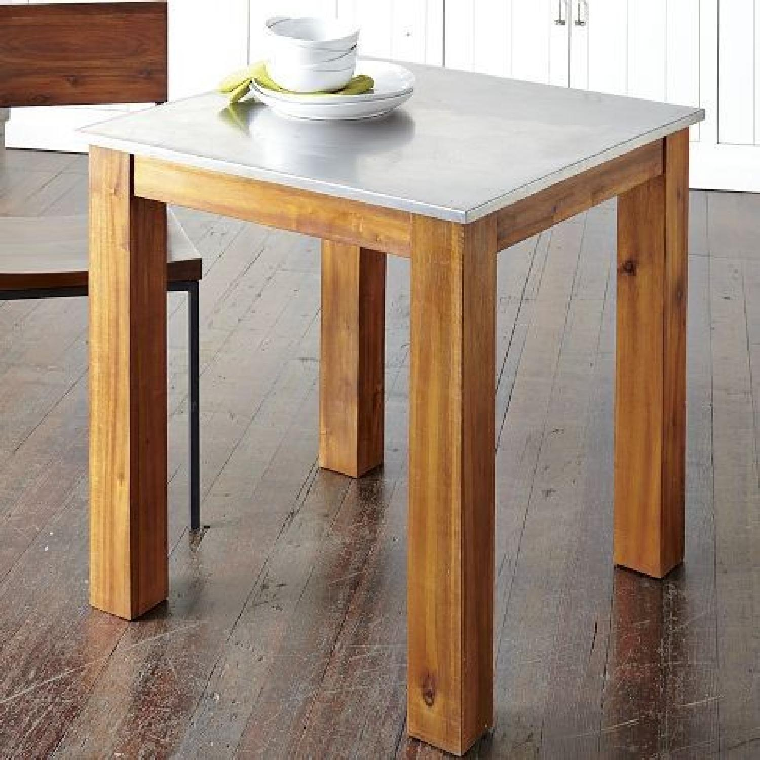 ... West Elm Square Wood Kitchen Table W/ Stainless Top 1