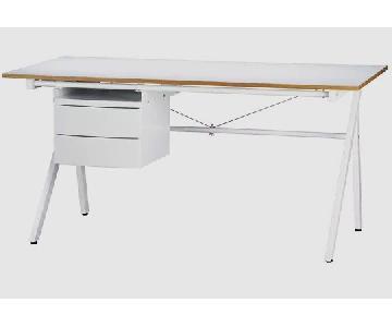CB2 White Gloss Wood Desk
