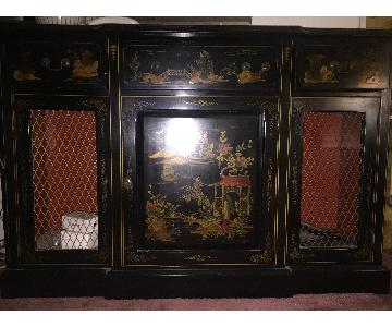 Chinese Credenza w/ Glass Top