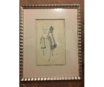 Custom Framed Vintage Couture Women's Fashion Sketch