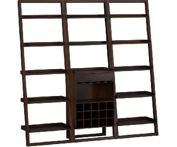 Crate & Barrel Sloane Leaning Shelves w/ Wine Bar