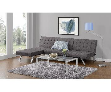 DHP Furniture Light Grey Chaise Lounge