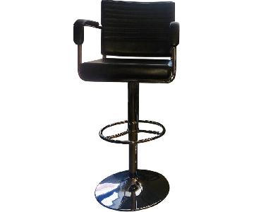 Frontgate Adjustable Height Leather Bar Stool w/ Back