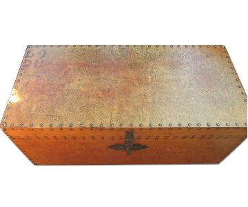 Faux Leather Look Wood Trunk Chest