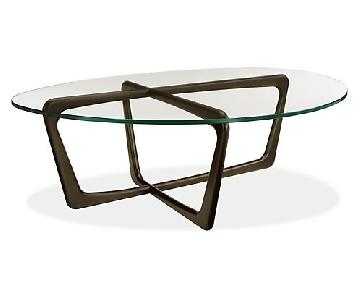 Room & Board Glass Top Cocktail Table w/ Charcoal Wood Legs
