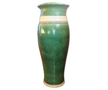 Green Ceramic Tall Accent Vase