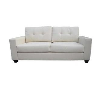 Lifestyle Solutions Chico Bonded Leather White Sofa