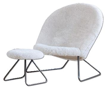 Onecollection Nanna Ditzel Dennie Chair in Sheepskin