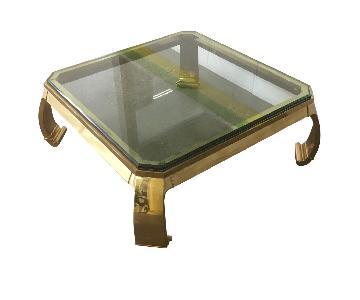 Karl Springer Brass & Glass Ming Leg Coffee Table