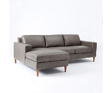 West Elm Leather 2-Piece Chaise Sectional Sofa