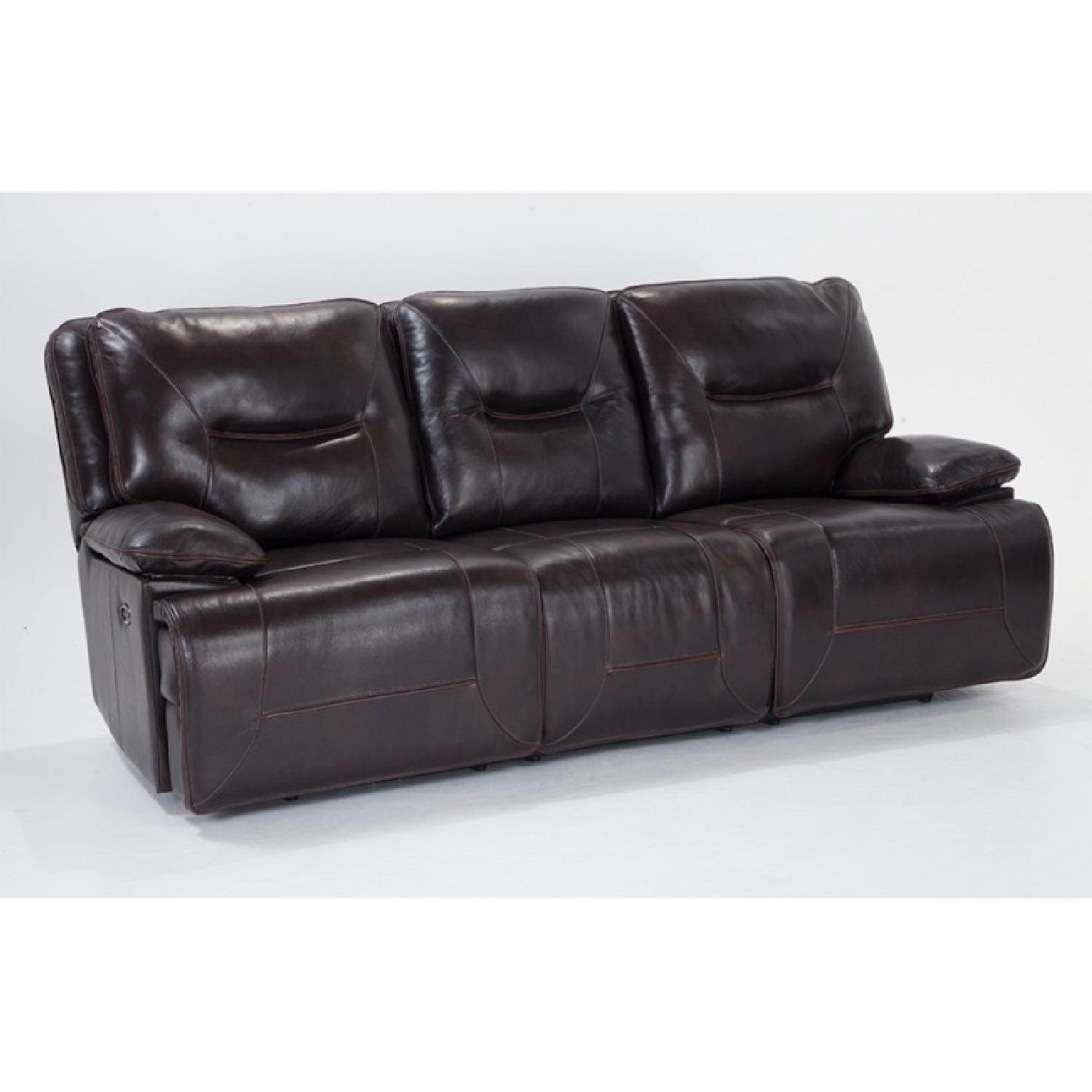 Bobu0027s Brown Leather Recliner Sofa w/ USB Ports u0026 Console ...  sc 1 st  AptDeco : recliner sofa with console - islam-shia.org