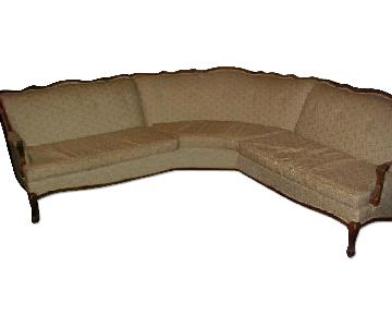 Vintage 3 Piece Wood Trim & Fabric Sectional Sofa