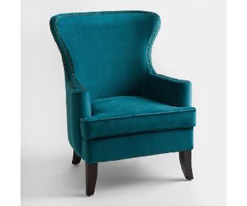 World Market Pacific Blue Elliott Wingback Chair