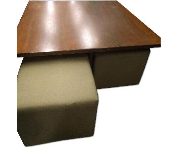 Square Coffee Table w/ 4 Ottomans