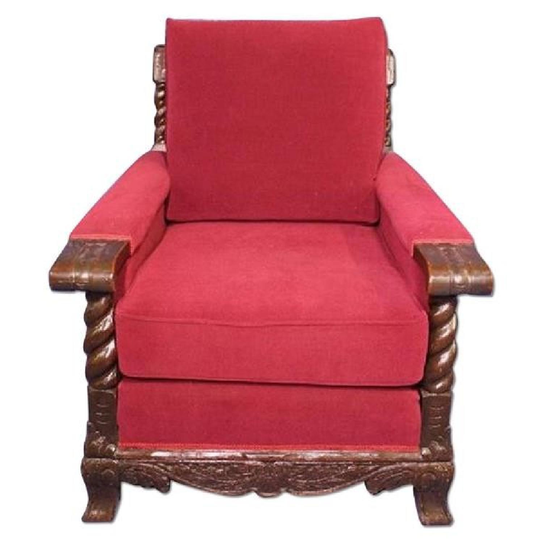 19th C Antique Oak Club Chair