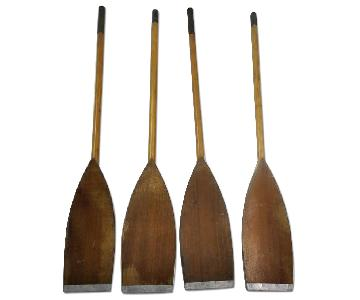 4 Piece Handmade Wooden Oars w/ Metal Ends