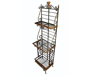 Antique French Iron Brass Baker's Rack