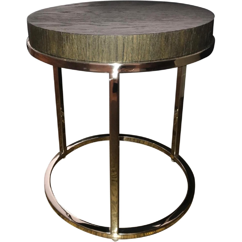 Restoration Hardware Nicholas Oak Round Coffee Table Aptdeco
