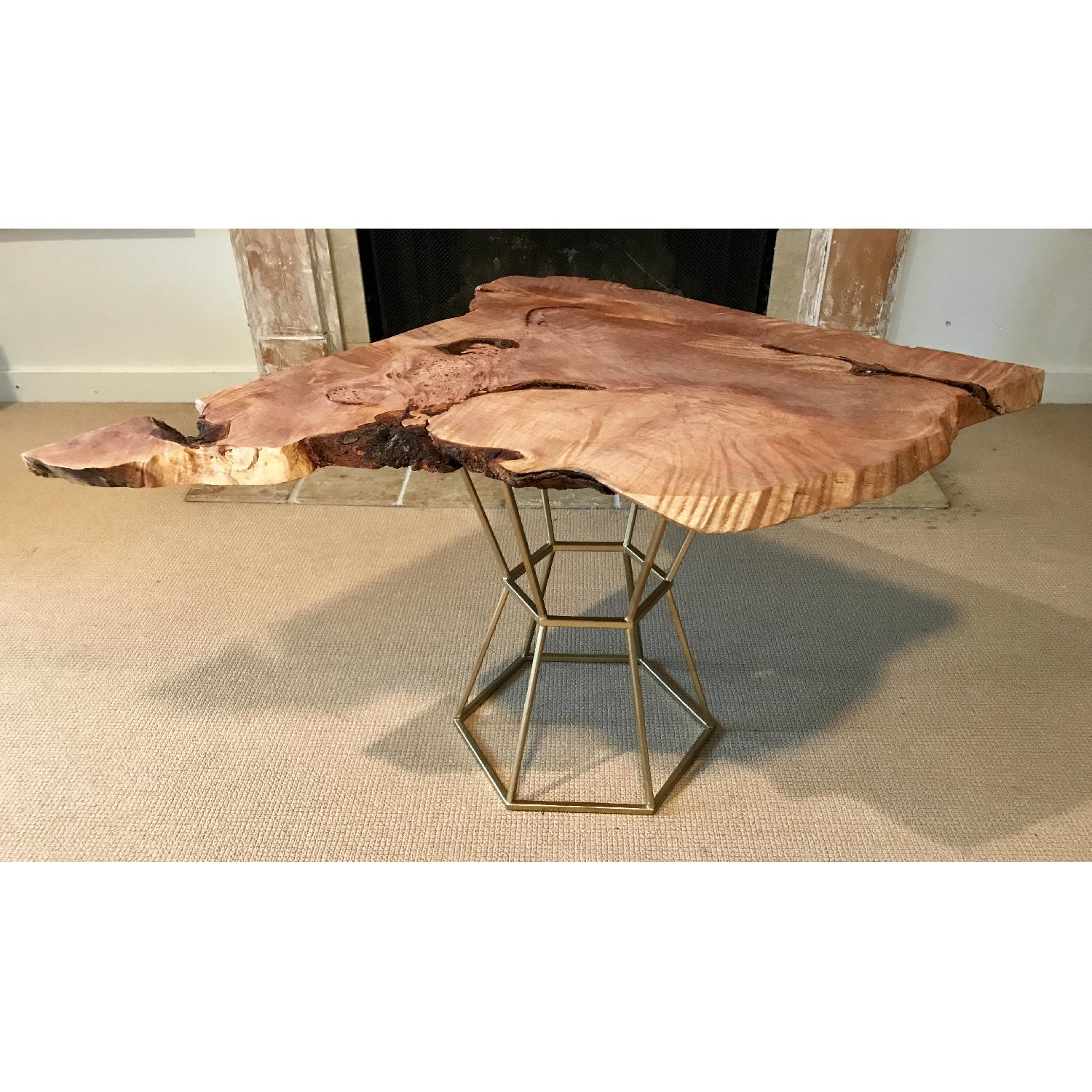 Live Edge Maple Burlwood Coffee Table w Gilt Metal AptDeco