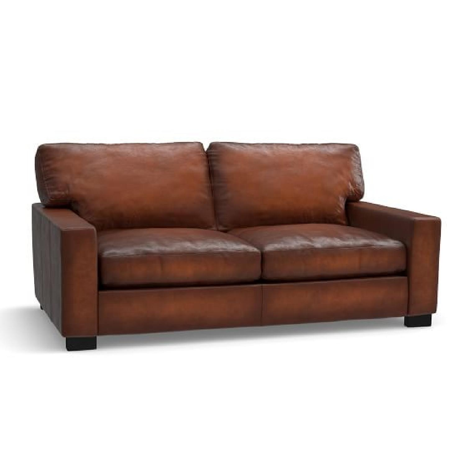 Pottery Barn Saddle Leather Love Seat AptDeco