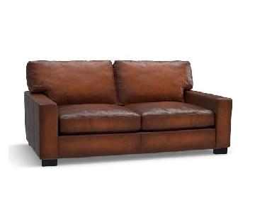 Pottery Barn Saddle Leather Love Seat