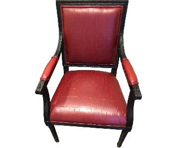 Restoration Hardware Custom Oxblood Leather Dining Arm Chair
