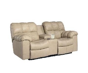 Ashley Leather Reclining Loveseat w/ Console