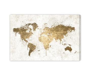 Oliver Gal World Map Art in Gold Metallic